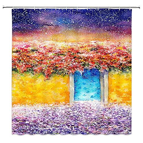 AFDSJJDK duschvorhang grau Blumen Duschvorhänge Malerei Ziegel Wand Farbe Badezimmer Gardinen Kunst Design Wohnkultur wasserdichte Haken