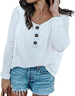 Women Classic Long Sleeve Buttons Round Neck Knitted T Shirts Top Blouse