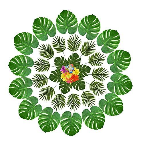 Lot de 12 feuilles tropicales 12 pi/èces simulation feuille de bananier Set de table Set de table Hawaiian Party D/écoration murale
