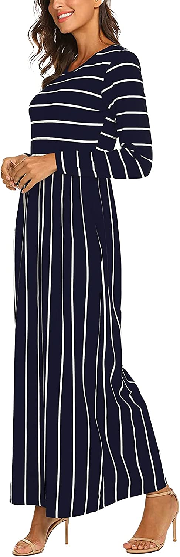 Kidsform Women's Loose Plain Maxi Dress Long Sleeve Floral Print Casual Long Dress with Pockets