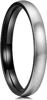 Basic 3mm 4mm 5mm 6mm 7mm 8mm Titanium Ring Matte Brushed Black Comfort Fit Domed Wedding Band for Men