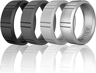 Arua Silicone Rings for Men - 4 Pack. Rubber Wedding Bands. Engagement Silicone Wedding Rings – Black, Grey, Silver, Charcoal Grey