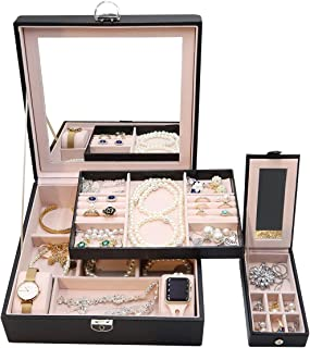 ProCase Large Jewelry Box Organizer for Women Mother Wife Girlfriend Gift Idea, Two Layers Jewelry Display Storage Holder ...