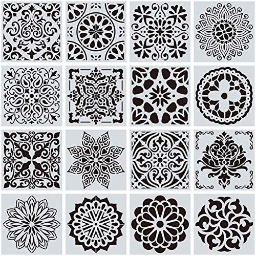 16 Stuks Schilderen Template Mandala Punt Het Schilderen Sjablonen Herbruikbare Sjabloon Tekening Perfect Voor De Doe-Rotstekeningen En Kunstprojecten,Black