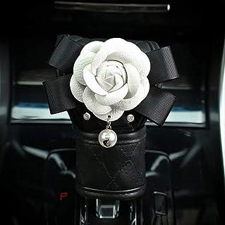 GGOII Coprivolante Diamond Crystal White Camellia Flower Car Interior Decoration Coprivolante Coprivolante in Pelle Car Styling Car Leather