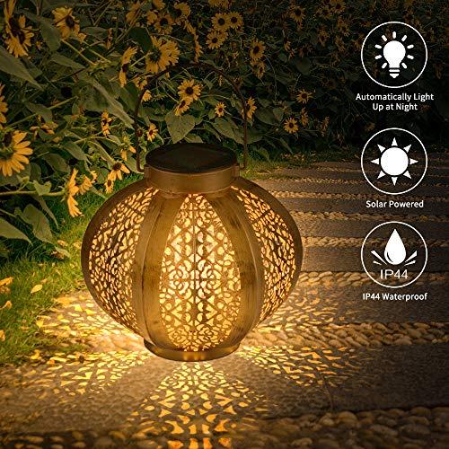 Solar LED Laterne, FORNORM Schmiedeeisen Hohlmuster Lampe Tragbare Hängelaterne Projektionslampe Gartendekoration, Solar Gartenleuchte für Outdoor Garden Patio Yard