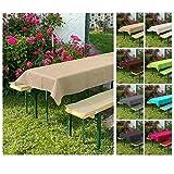 heimtexland ® Set di 3 cuscini per panchina da birra, per tavolo da birreria, 70 x 220 cm, colore beige tipo 698