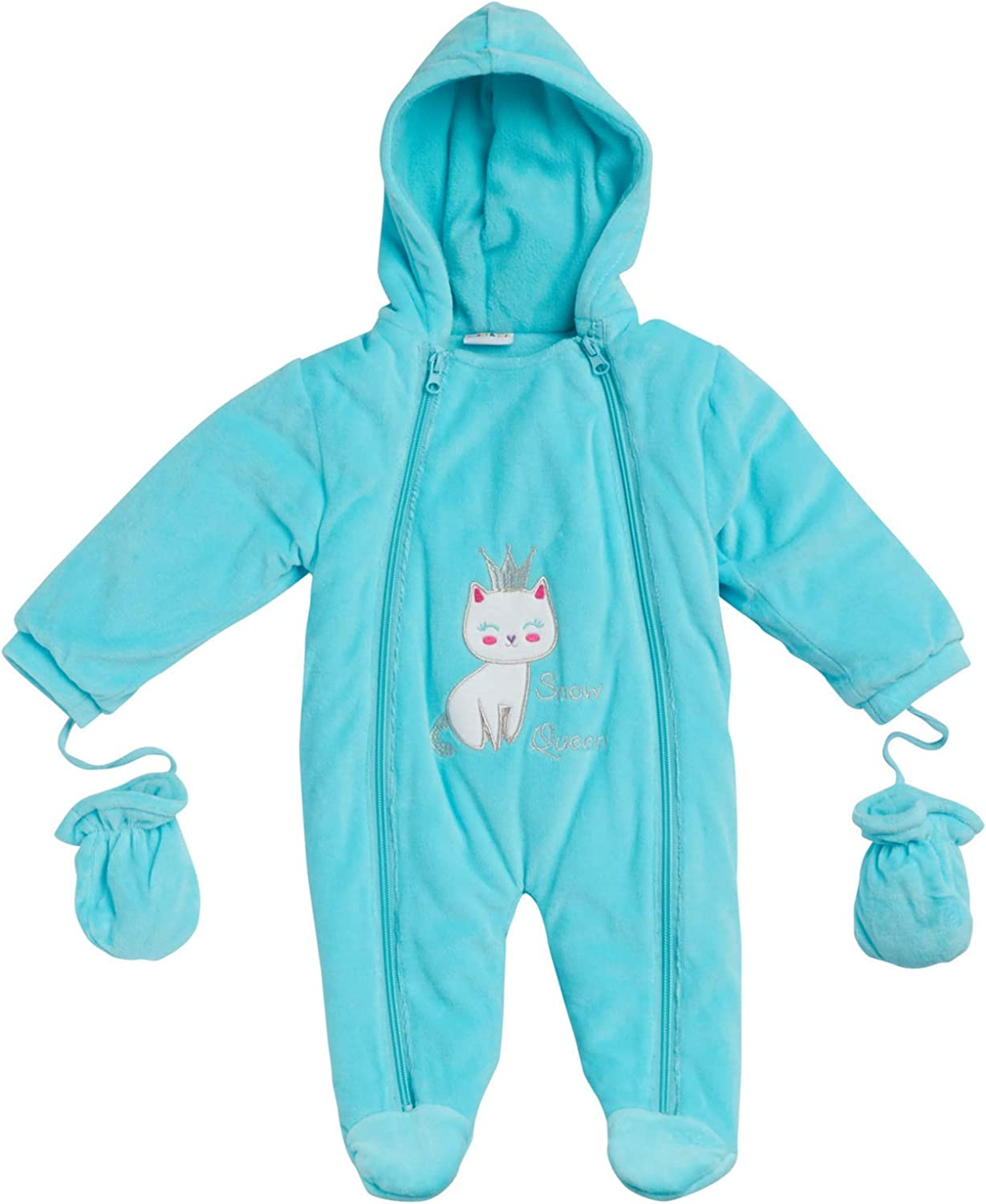 Sweet and Soft Girls Fleece Footed Pram Snowsuit with Mittens (Newborn/Infant)
