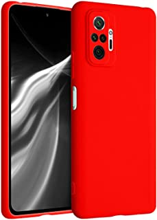 جراب سيليكون مبطن بالفرو من الداخل وحامي للكاميرا لهاتف شاومى ريدمى نوت 10 برو - أحمر