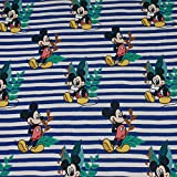 Jersey Disney Micky Maus, blau/beige gestreift (50cm x