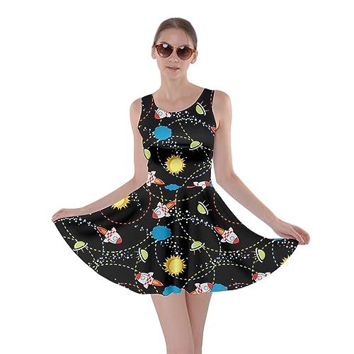 a5976c4e304c CowCow Womens Rick Morty Meeseeks Destroy Mooncake Final Space Mrs Frizzle  Space Skater Dress, XS