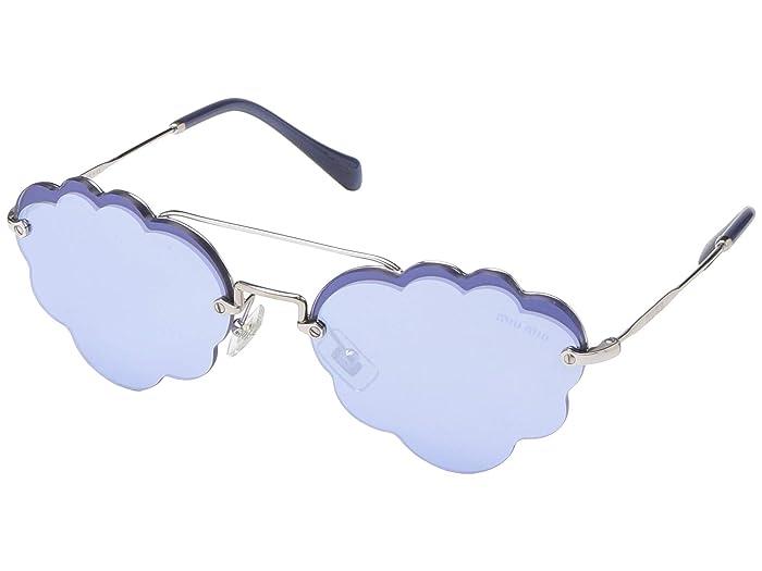 Miu Miu 0MU 57US (Silver/Light Blue Silver Mirror) Fashion Sunglasses