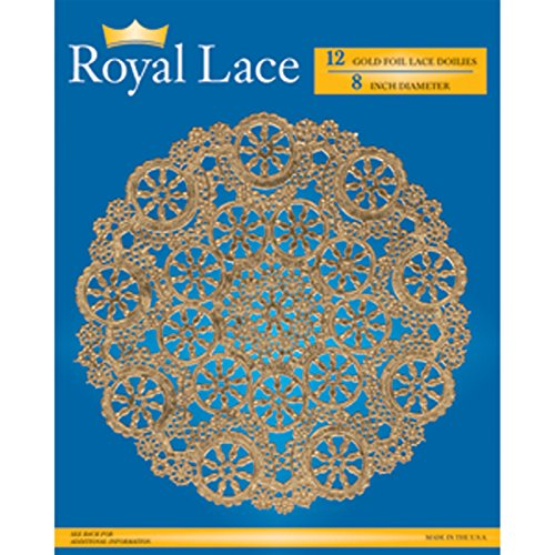 Royal Lace Round Foil Doilies, Gold, 8-Inch, Pack of 12 (B26510)