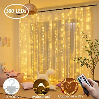 LiyuanQ Curtain String Lights 300 LEDs Window Curtain Fairy Lights Copper Wire Twinkle String Lights USB Remote Control 8 Modes Hanging Lights for Bedroom Indoor Home Wedding Decor (300 LED, Yellow)