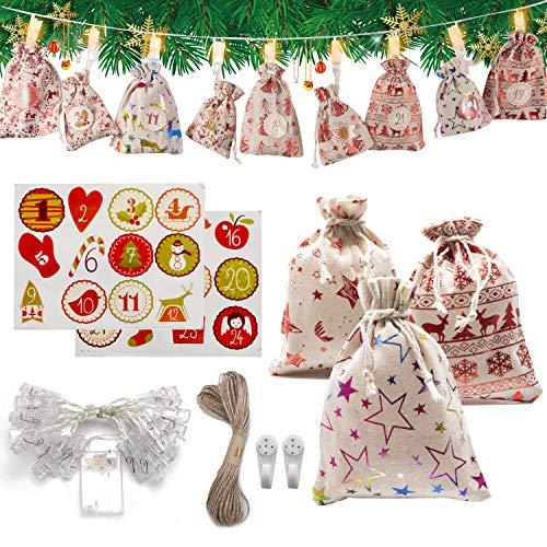 SOOHAO Adventskalender zum Befüllen, Weihnachten Geschenksäckchen Bastelset mit 3M 25 LED Clips Lichter, 2020 Weihnachtskalender Säckchen,Stoffbeutel, 24 Geschenksäckchen für DIY Männer Kinder