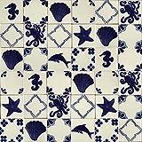 Cerames - Mariscos - Azulejos Mexicanos decorados| 10x10cm, 30 piezas | Azulejos artesanales de ceramica Talavera, hecho y pintado a mano, para baño y cocina
