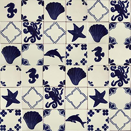 Cerames Mariscos - marineblauwe en witte Mexicaanse tegels | 30 stuks tegels 10x10 cm | Talavera badkamer en keuken backsplash tegels | Spaans, Marokkaans, Azulejo ontwerpen