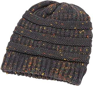 Stylish Slouchy Beanie - Warm Stretch Knitted Cap Beanie Hats - Patchwork Print Headband Cap