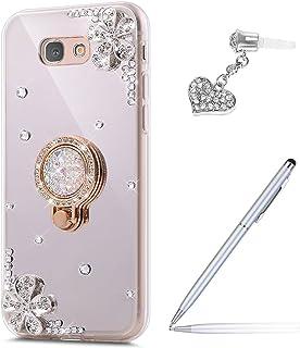 ikasus Galaxy J7 V Case,Galaxy J7 Perx Case,Galaxy J7 Sky Pro Case, Inlaid Diamond Flowers Rhinestone Diamond Glitter Bling Mirror TPU Case & Ring Stand +Touch Pen Dust Plug for Galaxy J7 2017,Silver