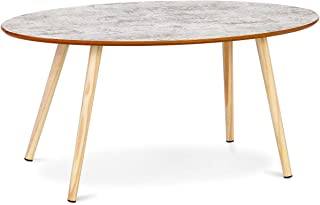 Giantex Oval Coffee Table Modern Sofa Side Table Accent End Table w/Solid Wood Legs Home Living Room Furniture