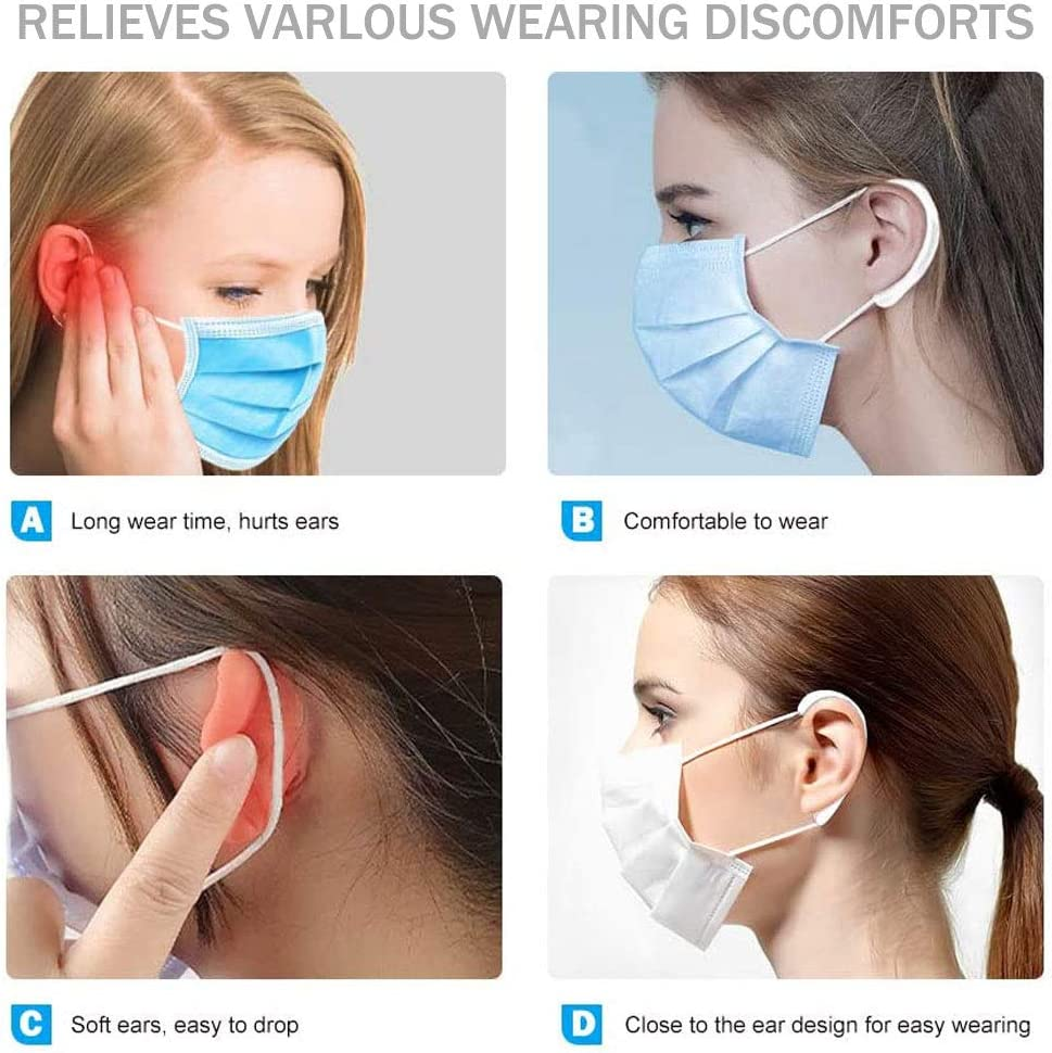 Soft Ear Hook for Adult /& Kid Black Silicone Mask Ear Protectors Reusable Ear Protection Caps 5 Pairs Mask Ear Protector,Ear Protectors Hook,Ear Savers for Masks