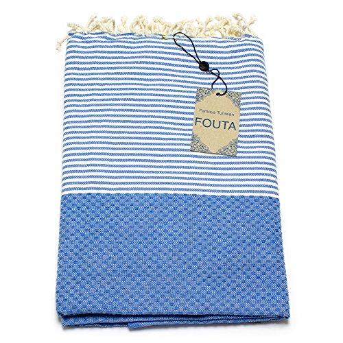 ANNA ANIQ Hamamtuch Fouta Sauna-Tuch XXL Extra Groß 197 x 100cm - 100% Baumwolle aus Tunesien als Strand-Tuch, orientalisches Bade-Tuch, Yoga, Pestemal, Strand-Handtuch (Ozeanblau)