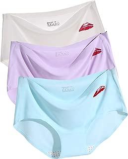 Women Seamless Underwear Ice Silk Bikini Briefs Low Waist Full Cover Underpants