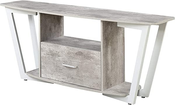 Convenience Concepts 112085GYWF Graystone Stone TV Stand 60 Gray White