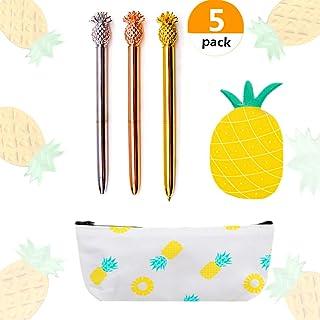 JeVenis - Juego de 5 bolígrafos de piña con estuche de piña para lápices, bolsitas y notas de piña