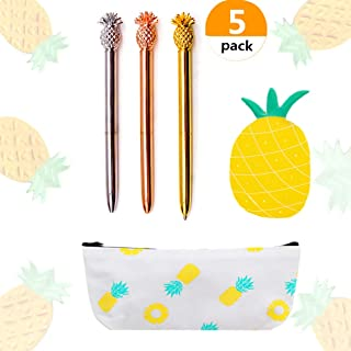 JeVenis Set of 5 Pineapple Pens Ballpoint Pens with Pineapple Pencil Pouch Bags Ins Style Pineapple Notes Stickers for Office School Gift