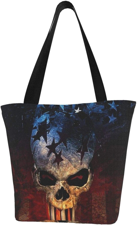 American Flag Usa Skeleton Vintage Themed Printed Women Canvas Handbag Zipper Shoulder Bag Work Booksbag Tote Purse Leisure Hobo Bag For Shopping