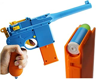 Mauser C96 Toy Gun with Soft Glow Tip Bullets, Ejecting Magazine, Removable Barrel, Adjustable Sight, and Slide Action