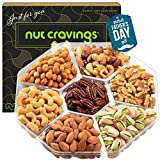 Fathers Day Gourmet Nut Gift Basket in Brown Box (7 Piece Assortment, 1 LB) - Prime Arrangement Platter, Birthday Care Package Variety, Healthy Food Kosher Snack Tray for Dad, Women, Men, Adults