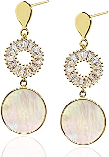 Sponsored Ad - Gold Lightweight Small Sterling Silver Mini Ring Shell Drop Earring Suitable for Ladies and Girls
