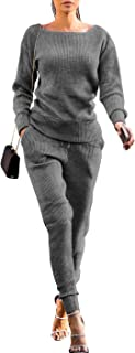 Womens Fall Rib-Knit Pullover Sweater Top & Long Pants Set 2 Piece Outfits Tracksuit