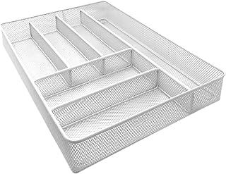 Space Home - Bandeja para Cubertería - Organizador de Cubiertos - Divisor Cajones de Cocina - Rejilla - Blanco - Tamaño Grande