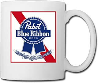 Cool Pabst Blue Ribbon Ceramic Coffee Mug, Tea Cup | Best Gift For Men, Women And Kids - 13.5 Oz, White