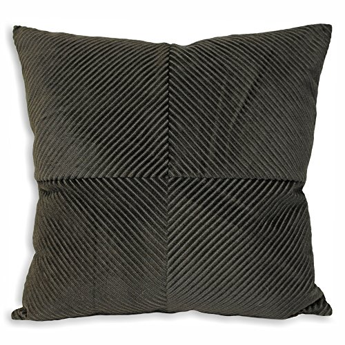 Riva Paoletti Infinity Cushion Cover - Charcoal Grey - Geometric Ribbed Fabric - Knife Edging - 100% Polyester - Machine Washable - 45 x 45cm (18\