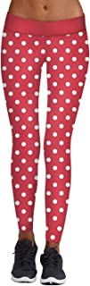 Meenew Women's Ugly Christmas Leggings Stripe Tights Workout Stretchy Pants