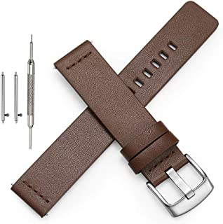 ViuiDueTure Quick Release Leather Watch Band - Genuine Leather Replacement Wrist Strap for Men Women - Choice of Width - 18mm, 20mm, 22mm or 24mm