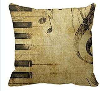 Andreannie Retro Shabby Sheet Music Black Piano Keys Musical Notes Cotton Linen Personalized Throw Pillow Case Cushion Cov...