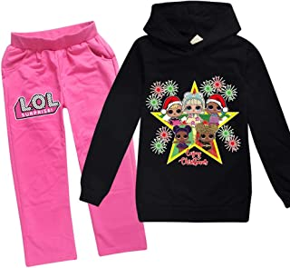 C/&NN Toddler Boys Girls Kids Outfits LOL Doll Surprise Popular Cartoon Characters Hoodie Pullover Sweatshirt Tops Pants Clothes Sets,Pink,100cm