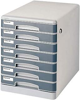 KANJJ-YU Stockage Tiroirs Classeur 7 tiroirs de rangement de bureau Organisateur avec serrure et étiquettes box capacité p...