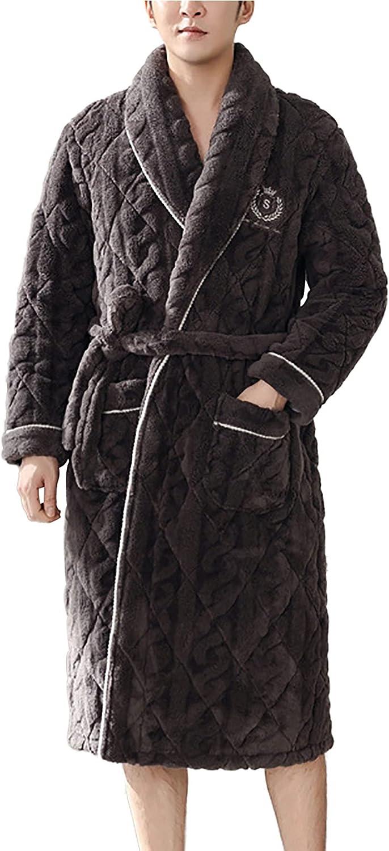 Men's Warm Fleece Robe Plush Soft Warm Lapel Collar Shawl Bathrobe Big and Tall