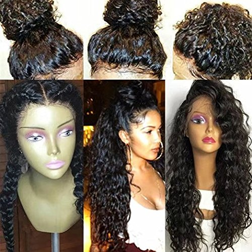 Natural Looking Deep Kinky Curly Wave Full Lace Human Hair Wigs With Baby Hair 130 density (12 inch,1B)