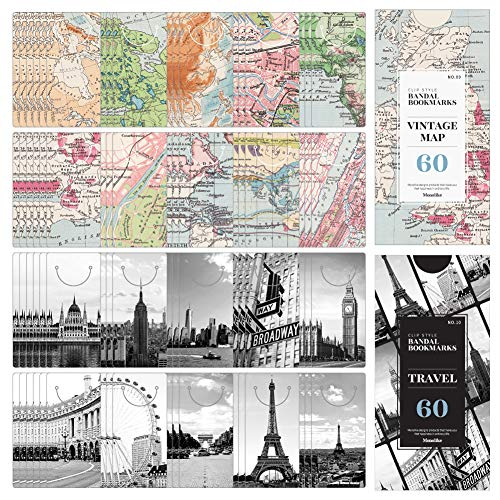 Monolike Bandal Bookmarks Vintage Map + Travel, 120 Pieces