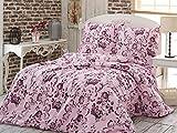 3 tlg. Juego de sábanas de franela de algodón de franela funda nórdica y funda de 200 x 220 cm de flores