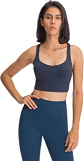 Cross Back Sports Yoga Bras, Women Shockproof Comfort Workout Yoga Bra for Running,Blue,4