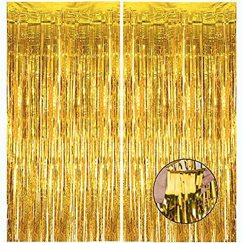 HDLJD Shiny Gold Metallic Foil Fringe Door & Window Curtain Party Decoration 3.3' X 6.6' (Value Pack of 2)