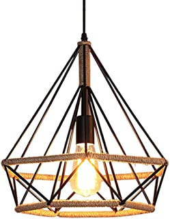 Lámpara de Techo Vintage Industrial cuerda de cáñamo luz E27 Diámetro 25 cm,Luz de cuerda industrial,Luz Colgante Industrial Loft/Restaurante Colgante/Luz de Techo Retro